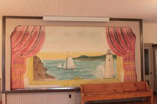 3-Stage curtain painted by Musical Bailey upstairs at Lyme Center School