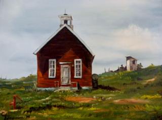 Oak Grove School Painting by Carol Antaramian
